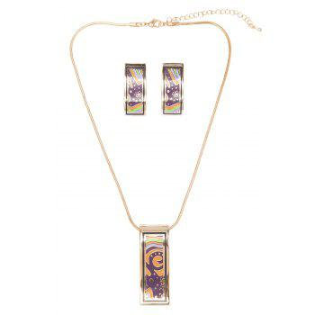 Pattern Decorated Geometric Shape Necklace And Earrings - AS THE PICTURE
