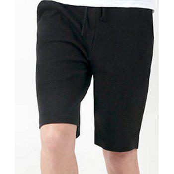 Fashion Lace-Up Solid Color Loose Fit Straight Leg Men's Polyester Shorts - BLACK BLACK