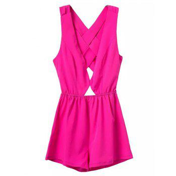 Sexy Sleeveless Plunging Neck Criss-Cross Hollow Out Women's Romper