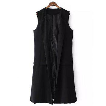 Fashionable Sleeveless Collarless Side Slit Pure Color Women's Waistcoat