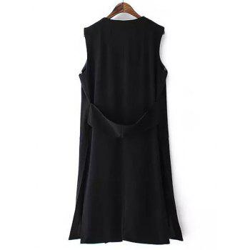 Fashionable Sleeveless Collarless Side Slit Pure Color Women's Waistcoat - BLACK M