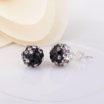 Pair of Rhinesone Ball Shape Earrings - COLORFUL