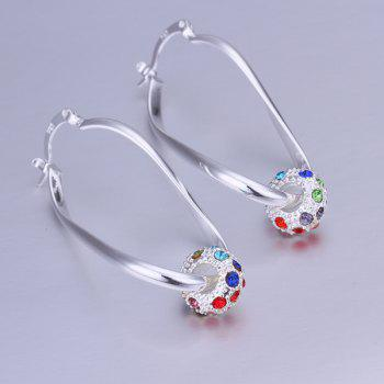Pair of Rhinesone Alloy Ball Drop Earrings
