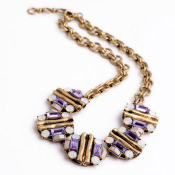 Classic Rhinestone Floral Necklace For Women - AS THE PICTURE