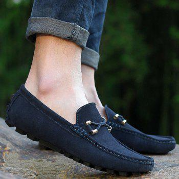 Fashionable Suede and Metallic Design Loafers For Men - 44 44