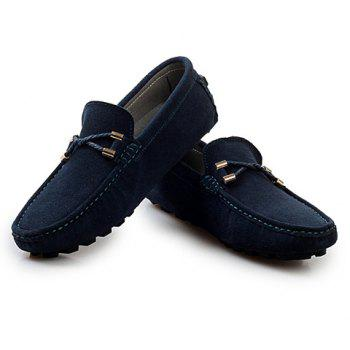 Fashionable Suede and Metallic Design Loafers For Men - DEEP BLUE 44