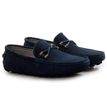 Fashionable Suede and Metallic Design Loafers For Men - DEEP BLUE DEEP BLUE