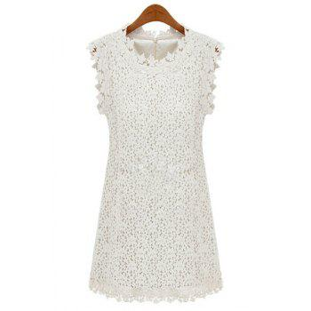 Ladylike Round Neck Off-White Lace Sleeveless Dress For Women