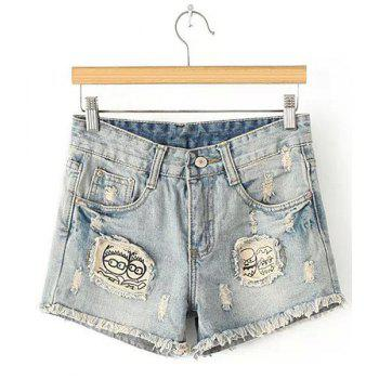 Street Style Broken Hole Button Fly Denim Shorts For Women