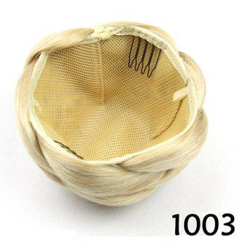 Fashion Blonde Braided Charming Short Heat Resistant Synthetic Women's Clip-In Chignon -