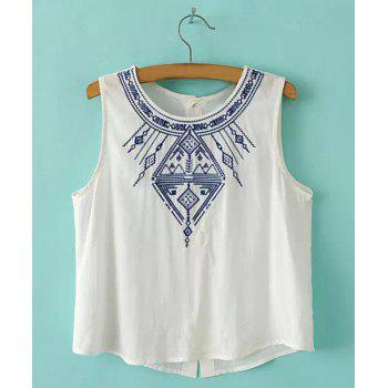 Sweet Embroidery Scoop Neck Sleeveless Short Blouse For Women
