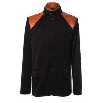 Stylish Stand Collar PU Leather Splicing Slimming Color Block Long Sleeves Men's Coat - BLACK M