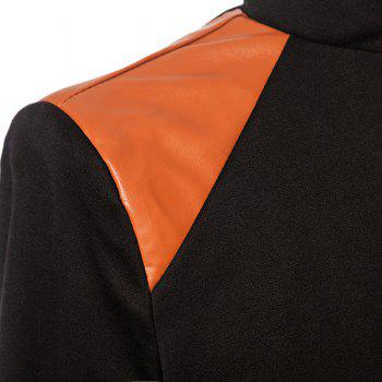 Stylish Stand Collar PU Leather Splicing Slimming Color Block Long Sleeves Men's Coat - M M