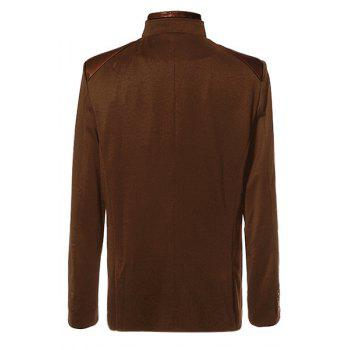 Stylish Stand Collar PU Leather Splicing Slimming Color Block Long Sleeves Men's Coat - L L