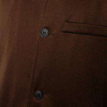 Stylish Stand Collar PU Leather Splicing Slimming Color Block Long Sleeves Men's Coat - BROWN BROWN