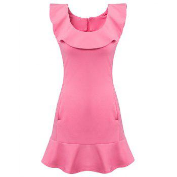 Ladylike Sleeveless Scoop Neck Flounced Slimming Women's Dress