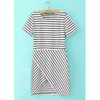 Brief Striped Round Collar Criss-Cross Short Sleeve Dress For Women - BLACK S
