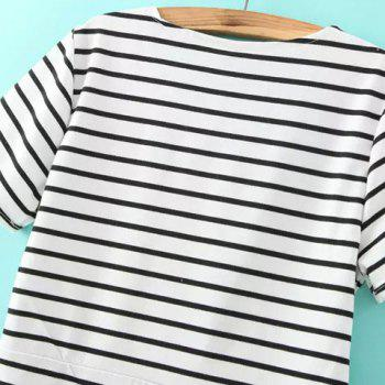 Brief Striped Round Collar Criss-Cross Short Sleeve Dress For Women - S S