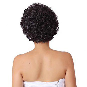 No Bang Trendy Fluffy Short Curly Charming Synthetic Women's Capless Wig - BLACK