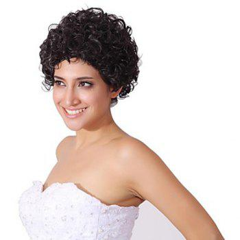 No Bang Trendy Fluffy Short Curly Charming Synthetic Women's Capless Wig - BLACK BLACK