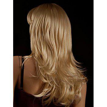 Faddish Side Bang Layered Golden Blonde Long Straight Tilt Women's Synthetic Wig - GOLDEN