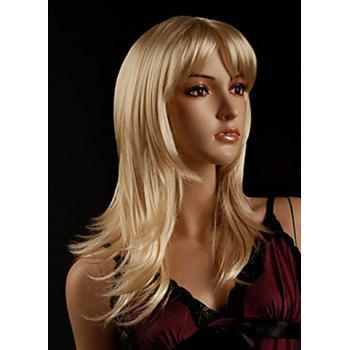 Faddish Side Bang Layered Golden Blonde Long Straight Tilt Women's Synthetic Wig - GOLDEN GOLDEN