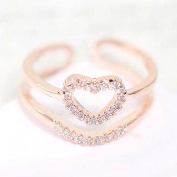 Chic Double-Layered Hollow Out Heart Shape Women's Ring