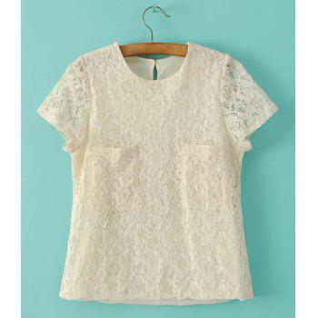 Sweet Pure Color Round Neck Lace Short Sleeve Blouse For Women