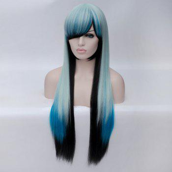 Trendy Ombre Side Bang Long Straight Charming Heat Resistant Synthetic Women's Cosplay Wig - multicolor