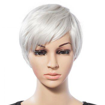 Vintage Short White Trendy Side Bang Natural Glossy Straight Synthetic Wig For Women