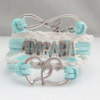 Weaved Letter Openwork Heart Layered Friendship Bracelet