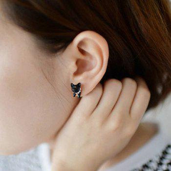 ONE PIECE Faux Pearl Cat Shape Design Earring - BLACK