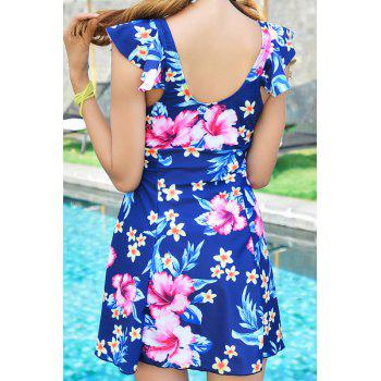 Fashionable Floral Print One-Piece Slimming Women's Swimsuit - PURPLISH BLUE PURPLISH BLUE