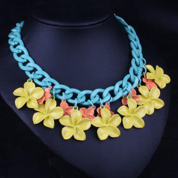 Sweet Flowers Colored Necklace For Women - YELLOW
