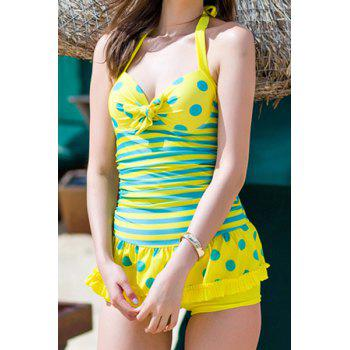Sexy Halter Neck Striped Polka Dot Splicing One-Piece Swimwear For Women