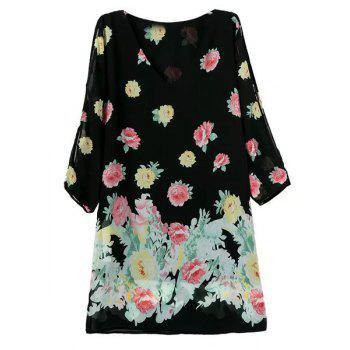 Stylish Floral Print V-Neck Hollow Out 3/4 Sleeve Dress For Women