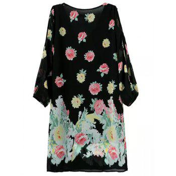 Stylish Floral Print V-Neck Hollow Out 3/4 Sleeve Dress For Women - BLACK XL