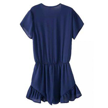 Brief Solid Color V-Neck Short Sleeve Chiffon Romper For Women - PURPLISH BLUE S