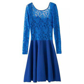 Sexy Long Sleeve Scoop Neck Bowknot Embellished Backless Women's Dress