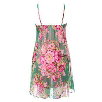 Refreshing Colorful Tiny Floral Print (Without the Tie) Chiffon Dress For Women - GREEN ONE SIZE
