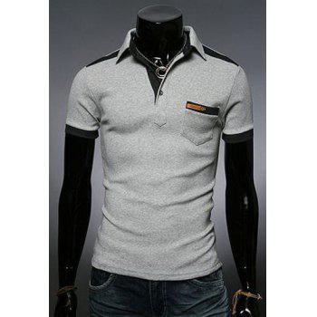 Fashion Color Block Turn-down Collar Pocket Embellished Slimming Short Sleeves Men's Polo T-Shirt - LIGHT GRAY 2XL