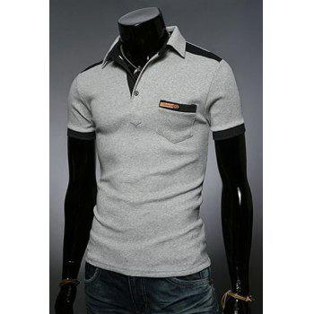 Fashion Color Block Turn-down Collar Pocket Embellished Slimming Short Sleeves Men's Polo T-Shirt - 2XL 2XL