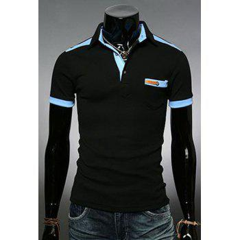 Fashion Color Block Turn-down Collar Pocket Embellished Slimming Short Sleeves Men's Polo T-Shirt - BLACK 3XL
