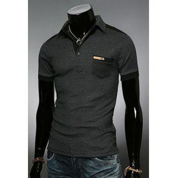 Fashion Color Block Turn-down Collar Pocket Embellished Slimming Short Sleeves Men's Polo T-Shirt - DEEP GRAY DEEP GRAY