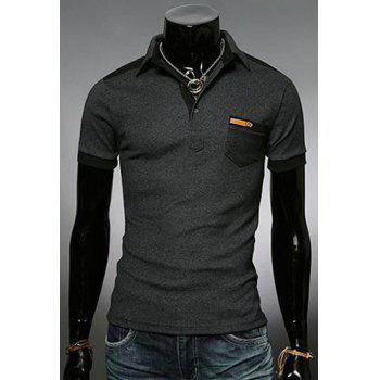 Fashion Color Block Turn-down Collar Pocket Embellished Slimming Short Sleeves Men's Polo T-Shirt