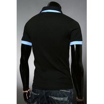 Fashion Color Block Turn-down Collar Pocket Embellished Slimming Short Sleeves Men's Polo T-Shirt - 3XL 3XL