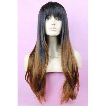 Layered Black Gradient Light Brown Long Straight Synthetic Full Bang Women's Kanekalon Wig - OMBRE 1211# OMBRE