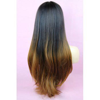 Layered Black Gradient Light Brown Long Straight Synthetic Full Bang Women's Kanekalon Wig -  OMBRE