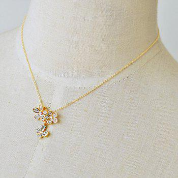 Delicate Rhinestone Flower Pendant Design Necklace For Women