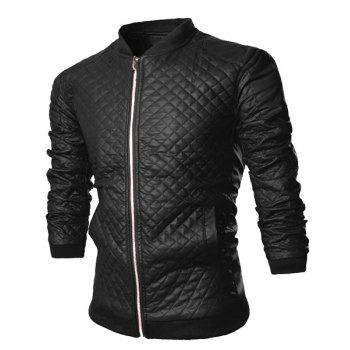 Trendy Checked Design Rib Splicing Stand Collar Long Sleeve Slimming PU Leather Men's Jacket
